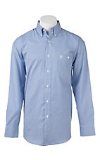 George Strait by Wrangler L/S Men's Blue and White Stripe Western Shirt - Big & Tall