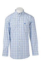 George Strait by Wrangler L/S Men's Blue and White Plaid Western Shirt - Big & Tall
