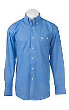 George Strait by Wrangler L/S Men's Blue and White Circle Print Western Shirt - Big & Tall