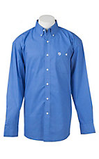 George Strait by Wrangler L/S Men's Blue and White Diamond Print Western Shirt - Big & Tall