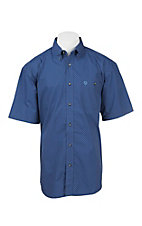 George Strait by Wrangler Men's Blue Print S/S Western Shirt - Big & Tall