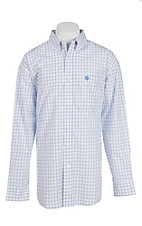 George Strait by Wrangler L/S Men's White and Blue Grid Western Shirt
