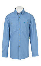 George Strait by Wrangler Mens's Mini Blue Checkered L/S Western Shirt