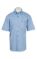 George Strait by Wrangler Men's Light Blue Checkered S/S Western Shirt