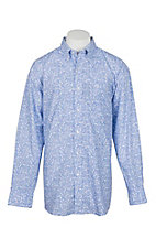 George Strait by Wrangler Men's White w/ Blue Paisley L/S Western Shirt