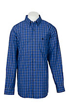 George Strait by Wrangler Men's Blue/Navy Plaid L/S Western Shirt