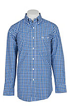 George Straight by Wrangler Men's Gingham Blue & White Plaid L/S Western Shirt