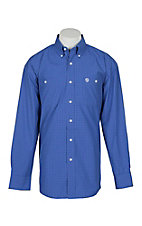 George Straight by Wrangler Men's Blue w/ White Grid Print L/S Western Shirt