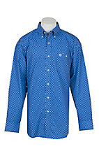 George Straight by Wrangler Men's Blue w/ White Flower Mini Print L/S Western Shirt