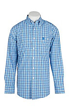 George Strait by Wrangler Men's Blue & White Checker Print Western Shirt