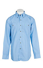 George Strait by Wrangler Light Blue Diamond Print Western Shirt - Big & Tall