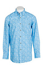 George Strait by Wrangler Light Blue Paisley Print Western Shirt