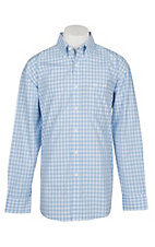 George Strait by Wrangler Men's Blue & White Plaid Western Shirt