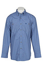 Wrangler George Strait Men's Blue and Red Mini Medallion Print Western Shirt