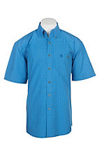 Wrangler George Strait Men's Blue and White Grid Print S/S Cavender's Exclusive Western Shirt - Big and Tall