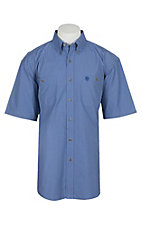Wrangler George Strait Men's Blue Checkered Mini Grid S/S Western Shirt