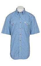Wrangler George Strait Men's Blue and White Geo Diamond S/S Western Shirt