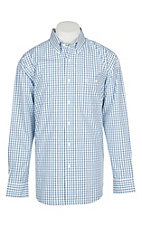 George Strait by Wrangler Men's Blue and White Plaid Western Shirt