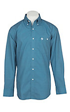 George Strait by Wrangler Men's Blue Mini Paisley Western Shirt