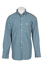 George Strait by Wrangler Men's Blue and Black Plaid Western Shirt