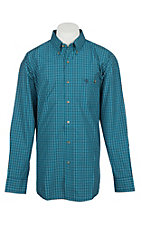 Wrangler George Strait Men's Blue and Navy Print Western Shirt