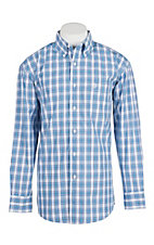 Wrangler George Strait Men's Turquoise and Blue and White Plaid Long Sleeve Western Shirt