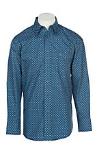 George Strait Troubadour by Wrangler Men's Blue Geo Print Western  Snap Shirt
