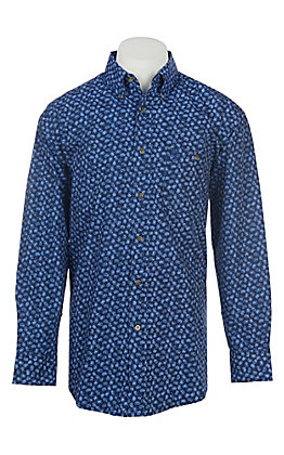 George Strait by Wrangler Men's Blue Paisley Western Shirt