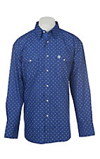 Wrangler George Strait Men's Blue Medallion Print Long Sleeve Western Shirt