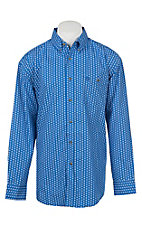 George Strait by Wrangler Men's Blue Medallion Print Long Sleeve Western Shirt