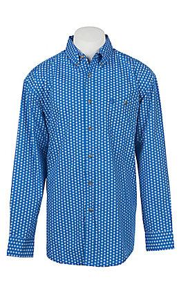 George Strait by Wrangler Men's Blue Medallion Print Long Sleeve Western Shirt