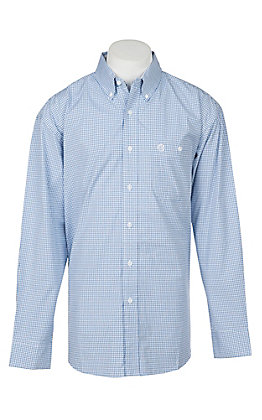 George Strait by Wrangler Men's Blue Plaid Western Shirt