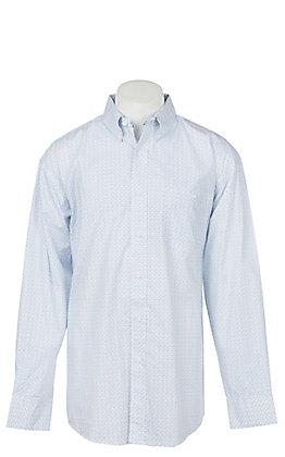 George Strait by Wrangler Men's Blue Paisley Long Sleeve Western Shirt