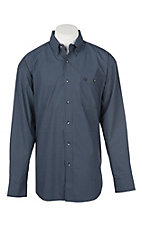George Straight by Wrangler Men's Cavender's Exclusive L/S Blue Geo Print Western Shirt - Big & Tall