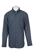 George Straight by Wrangler Men's Cavender's Exclusive L/S Blue Geo Print Western Shirt