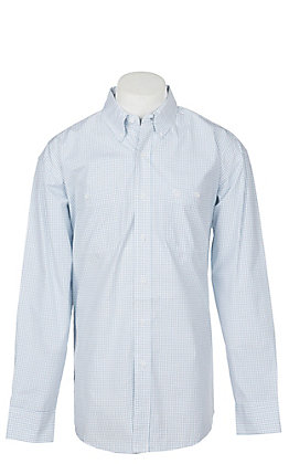 George Strait by Wrangler Men's Blue Check Long Sleeve Western Shirt