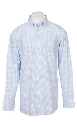 be93e7b40 George Strait by Wrangler Men's Blue Geo Print Long Sleeve Western Shirt