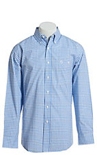 George Strait by Wrangler Men's Checkered Blue Long Sleeve Western Shirt