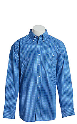 George Strait by Wrangler Men's Paisley Blue Long Sleeve Western Shirt