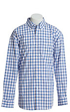 George Strait by Wrangler Men's Plaid Blue, Red and White Plaid Long Sleeve Western Shirt