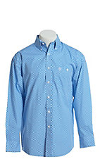 George Strait by Wrangler Men's Blue And White Geo Print Long Sleeve Western Shirt