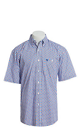 George Strait by Wrangler Men's White With Red And Blue Medallion Print Short Sleeve Western Shirt