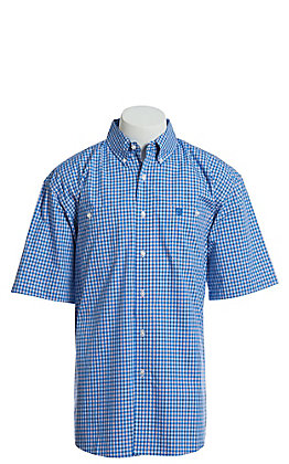 George Strait by Wrangler Men's Blue, Red and White Plaid Short Sleeve Western Shirt