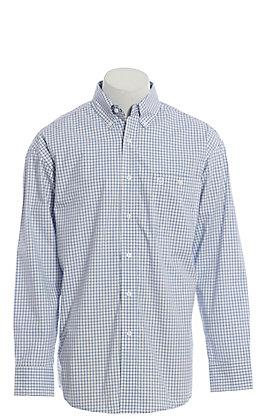 George Strait by Wrangler Men's Blue Plaid Long Sleeve Western Shirt