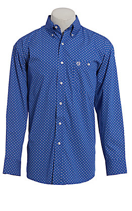George Strait by Wrangler Men's Blue Geo Print Long Sleeve Western Shirt