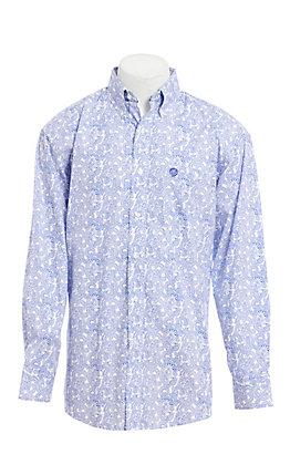 George Strait by Wrangler Men's White Blue Paisley Print Long Sleeve Western Shirt