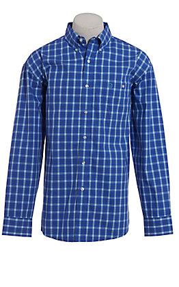 George Strait by Wrangler Men's Blue Plaid Long Sleeve Western Shirt