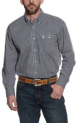 Wrangler George Strait Men's Navy with White Starburst Print Long Sleeve Western Shirt