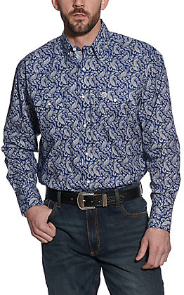 Wrangler George Strait Men's Troubadour Navy Paisley Relaxed Fit Long Sleeve Western Shirt