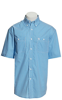 Wrangler George Strait Men's White and Blue Geo Print Short Sleeve Western Shirt
